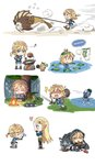 1boy 1girl :3 >_< apple blonde_hair blue_eyes blush brown_footwear campfire character_request chibi closed_mouth cnm eating english eyebrows_visible_through_hair facing_another fire fish flower food frog from_side fruit heart highres holding holding_flower holding_mushroom holding_shield holding_sword holding_weapon korok leaf_umbrella lily_pad link link_(wolf) long_hair looking_at_another looking_away meat mushroom musical_note octorok open_mouth pepper pointy_ears princess_zelda rain shaded_face shield short_hair short_ponytail sitting smile speech_bubble standing sword the_legend_of_zelda the_legend_of_zelda:_breath_of_the_wild wariza weapon wet zzz