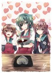 3girls apron artist_name brown_eyes brown_hair cardigan chocolate_making eyepatch flower green_eyes green_hair hair_flower hair_ornament hat head_scarf kantai_collection kisaragi_(kantai_collection) kiso_(kantai_collection) long_hair mittens mixing mixing_bowl multiple_girls mutsuki_(kantai_collection) neckerchief remodel_(kantai_collection) sailor_collar sailor_hat school_uniform serafuku short_hair signature tongue tongue_out valentine yuihira_asu