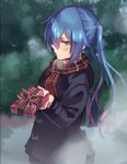 1girl bag black_coat black_skirt blue_hair blurry blurry_background blush box brown_eyes embarrassed eyebrows_visible_through_hair floating_hair from_side gift gift_box gradient_hair hair_between_eyes holding holding_box long_hair long_sleeves looking_at_viewer miniskirt multicolored_hair phantasy_star phantasy_star_online_2 pink_hair plaid plaid_scarf pleated_skirt profile quna_(pso2) red_scarf scarf school_bag shimozuki_shio shiny shiny_hair skirt solo standing valentine very_long_hair