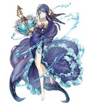 1girl anklet aqua_eyes bare_shoulders barefoot breasts d: detached_sleeves dress fins frilled_dress frills full_body gem gold_trim hair_ornament jewelry ji_no large_breasts long_hair looking_at_viewer necklace ningyo_hime_(sinoalice) official_art open_mouth parted_lips purple_hair side_slit sinoalice solo transparent_background very_long_hair vial water