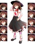 1girl :o >:) alphes_(style) arm_up asymmetrical_hair black_hat black_shoes black_skirt blush bobby_socks bow brown_eyes brown_hair closed_mouth collared_shirt crying crying_with_eyes_open dairi evil_smile expressions fedora frilled_skirt frills full-face_blush full_body hair_bow half-closed_eyes hand_in_hair hand_on_hip hat long_skirt long_sleeves looking_at_viewer multiple_views necktie parody red_bow red_necktie shaded_face shirt shoes short_hair skirt sleeve_cuffs smile socks standing style_parody sweatdrop teardrop tears touhou transparent_background usami_renko white_legwear white_shirt wince