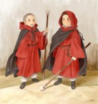 2boys bald baze cape child chirrut guard hood jedha looking_at_viewer male_focus matsuri6373 multiple_boys rogue_one:_a_star_wars_story science_fiction signature staff star_wars tunic uniform younger