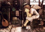 1girl abe_yoshitoshi angel angel_wings bouzouki concertina haibane_renmei halo highres instrument kettle lute_(instrument) rakka school_uniform solo wings