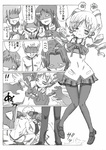 4boys 4girls arms_up bad_id bad_pixiv_id blush bullying camera comic drill_hair greyscale hair_ornament highres imminent_rape kosshii_(masa2243) mahou_shoujo_madoka_magica monochrome multiple_boys multiple_girls pantyhose tears tomoe_mami translated twin_drills twintails