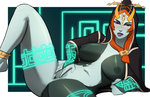 1girl anklet bad_source barefoot blush breasts bridal_gauntlets clenched_hand glowing green_skin headdress hood jewelry large_breasts lipstick lying makeup midna midna_(true) naavs navel nipples on_side orange_eyes orange_hair purple_lipstick pussy solo spread_legs spread_pussy the_legend_of_zelda the_legend_of_zelda:_twilight_princess