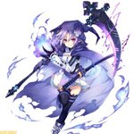 1girl blue_fire chain cloak company_connection d-pad d-pad_hair_ornament electricity fire flame fusion gauntlets gloves hair_ornament hiro_(spectral_force) hirotune hood idea_factory katana mega_miracle_force neptune_(neptune_series) neptune_(series) official_art purple_hair red_eyes shoes skirt skull smile sneakers spectral_(series) spectral_force sword thighhighs tsunako weapon zettai_ryouiki