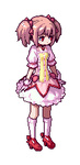 1girl animated animated_gif bow bubble_skirt frills gloves hair_bow kaname_madoka kneehighs lowres magical_girl mahou_shoujo_madoka_magica pink_eyes pink_hair pixel_art short_twintails skirt solo twintails vvindowsme