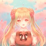1girl :d blue_sky bow bowtie cherry_blossoms cloud day esol_98 eyebrows_visible_through_hair floating_hair flower green_hair hair_between_eyes hair_flower hair_ornament hatsune_miku highres long_hair looking_at_viewer open_mouth outdoors pink_eyes pink_flower sakura_miku shirt short_sleeves sky smile solo striped striped_bow striped_neckwear twintails upper_body very_long_hair vocaloid white_shirt