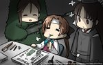 3girls akigumo_(kantai_collection) amagi_(kantai_collection) arms_at_sides artist_name bangs black_hair brown_eyes brown_hair call_of_duty call_of_duty_4 captain_macmillan captain_macmillan_(cosplay) closed_eyes commentary_request cosplay dated drinking drinking_straw empty_eyes gun hair_between_eyes hair_ribbon hamu_koutarou highres hirake!_ponkikki hiyou_(kantai_collection) holding holding_weapon japanese_clothes kantai_collection long_hair looking_at_another mole mole_under_eye mukku multiple_girls onmyouji open_mouth orange_hair parted_bangs ponytail ribbon rifle school_uniform shaded_face shikigami sigh sitting smile sniper_rifle standing translated weapon wide_sleeves yurijoshi