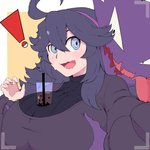 ! ahoge al_bhed_eyes black_dress black_hair blue_eyes blush breast_grab breast_hold breast_squeeze breasts bubble_tea bubble_tea_challenge camera cup dress drinking_straw grabbing hairband haunter hex_maniac_(pokemon) highres huge_breasts jpcampb115 long_dress long_hair long_sleeves looking_back messy_hair nervous nervous_smile open_hand open_mouth poke_ball pokemon pokemon_(game) pokemon_rse pokemon_xy purple_hairband sharp_teeth smile sweat sweatdrop sweater teeth tongue tongue_out turtleneck turtleneck_sweater