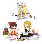 3girls ascot bare_shoulders blonde_hair blouse book bow bowl box braid brown_eyes brown_hair bubble carrot chin_rest closed_eyes commentary crossed_legs cutting_board detached_sleeves donation_box eating fan folding_fan gap gohei hair_bobbles hair_bow hair_ornament hair_tubes hakurei_reimu hand_on_knee hat hat_ribbon hosomitimiti indian_style kirisame_marisa long_hair mob_cap multiple_girls no_hat nontraditional_miko ofuda open_mouth pointing purple_eyes ribbon rice_bowl scolding short_hair side_braid side_ponytail simple_background sitting skirt sleeping smile socks spatula stuffed_animal stuffed_toy sweatdrop teddy_bear touhou turtleneck vest white_background wide_sleeves witch_hat yakumo_yukari younger yukkuri_shiteitte_ne