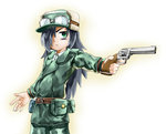 1girl bags_under_eyes belt black_hair cosplay finger_on_trigger fur_hat goggles goggles_on_head green_eyes gun hair_over_one_eye handgun hat jindai3663 kino kino_(cosplay) kino_no_tabi kuroki_tomoko revolver solo watashi_ga_motenai_no_wa_dou_kangaetemo_omaera_ga_warui! weapon