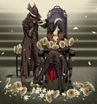 1boy 1girl arizuka_(catacombe) black_gloves blonde_hair bloodborne blue_eyes blush boots chair closed_eyes coat cross-laced_footwear crossed_legs eyelashes flower gloves hat highres hunter_(bloodborne) jewelry knee_boots lace-up_boots lady_maria_of_the_astral_clocktower long_hair mask overcoat petals sunflower sweatdrop the_old_hunters tricorne vambraces vest white_hair wreath