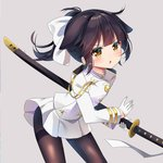 1girl agung_syaeful_anwar animal_ears azur_lane bangs blush bow brown_eyes brown_hair brown_legwear commentary eyebrows_visible_through_hair gloves grey_background hair_bow half_gloves high_ponytail highres holding holding_sheath jacket katana leaning_forward long_hair long_sleeves looking_at_viewer military_jacket pantyhose parted_lips pleated_skirt ponytail sheath sheathed sidelocks simple_background skirt solo sword takao_(azur_lane) thighband_pantyhose v-shaped_eyebrows weapon white_bow white_gloves white_jacket white_skirt younger