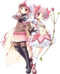 2girls aoki_ume bangs belt black_gloves blunt_bangs bodysuit boots bow_(weapon) bubble_skirt cape choker crossbow full_body gloves hair_ribbon hood kaname_madoka kneehighs magia_record:_mahou_shoujo_madoka_magica_gaiden magical_girl mahou_shoujo_madoka_magica miniskirt multiple_girls official_art pink_eyes pink_hair pleated_skirt ribbon side_braids skirt smile tamaki_iroha thigh_boots thighhighs transparent_background twintails weapon white_gloves white_legwear