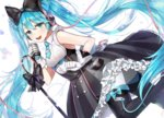 1girl :d bangs black_bow blue_bow blue_eyes blue_hair boots bow dress frilled_dress frills gijang gloves hair_bow hatsune_miku headphones long_hair looking_at_viewer magical_mirai_(vocaloid) microphone microphone_stand necktie open_mouth skirt sleeveless sleeveless_dress smile solo twintails very_long_hair vocaloid white_gloves