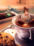 1girl blurry brown_hair brown_pants cellphone closed_eyes cookie cup cyril_rolando depth_of_field drinking food hair_bun hair_pulled_back highres holding holding_cup holding_food in_container in_cup indian_style key keyring long_sleeves minigirl original pants partially_submerged phone saucer shirt short_hair sitting smartphone solo spoon table tea teacup white_shirt