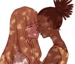 2girls bangs bare_shoulders blonde_hair blunt_bangs blush brown_hair carole_&_tuesday carole_stanley closed_eyes commentary dark_skin earrings english_commentary face-to-face facing_another freckles grin gutalalaman high_ponytail highres jewelry multiple_girls shadow sketch smile tuesday_simmons white_background yuri