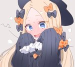 1girl abigail_williams_(fate/grand_order) bangs black_bow black_headwear blonde_hair blue_eyes blush bow commentary_request fate/grand_order fate_(series) full-face_blush hair_bow long_hair manami_(fearfac666) open_mouth orange_bow parted_bangs polka_dot polka_dot_bow sleeves_past_fingers sleeves_past_wrists solo teeth upper_body