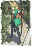1girl ahoge animal_ear_fluff animal_ears atalanta_(fate) blonde_hair bow_(weapon) breasts cat_ears cat_tail cleavage commentary_request fate/apocrypha fate_(series) gloves grass green_eyes green_hair multicolored_hair shiseki_hirame small_breasts solo tail thighhighs tree weapon