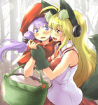 2girls animal_costume animal_ears arm_grab blonde_hair cleavage_cutout cosplay hairband hooded_cloak kemonomimi_mode little_red_riding_hood long_hair looking_at_another multiple_girls nise_nanatsura pleated_skirt purple_eyes purple_hair red_skirt shirt skirt sleeveless sleeveless_shirt tsurumaki_maki twintails vocaloid voiceroid wavy_mouth white_shirt wolf_costume wolf_ears yellow_eyes yuzuki_yukari