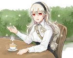 1girl black_hairband chair corrin_(fire_emblem) corrin_(fire_emblem)_(female) cosplay cup fire_emblem fire_emblem:_three_houses fire_emblem_fates hairband long_hair long_sleeves manakete open_mouth pointy_ears red_eyes robaco sitting solo table teacup twitter_username uniform white_hair