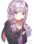 1girl 2018 :< animal_hood artist_name bangs black_jacket blush bunny_hood closed_mouth dated eyebrows_visible_through_hair food fruit hair_ornament holding hood hood_down hooded_jacket jacket long_hair long_sleeves low_twintails open_clothes open_jacket pocky purple_eyes purple_hair rimu_(gucg8333) simple_background sleeves_past_wrists solo sparkle strawberry twintails upper_body vocaloid voiceroid white_background yuzuki_yukari