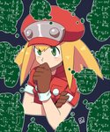 1girl blonde_hair breast_pocket brown_gloves calculus capcom gloves green_eyes hand_to_own_mouth hat long_hair math muu_(mumumer) number pocket portrait red_hat rockman rockman_dash roll_caskett short_sleeves sidelocks simple_background solo speech_bubble thinking