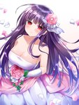 1girl asagami_fujino bangs bare_shoulders blush bouquet breasts bride cleavage closed_mouth commentary_request dress earrings elbow_gloves eyebrows_visible_through_hair flower gloves hair_flower hair_ornament highres holding holding_bouquet jewelry kara_no_kyoukai long_hair looking_at_viewer ohitashi_netsurou petals purple_hair red_eyes shiny shiny_hair simple_background sleeveless sleeveless_dress smile solo strapless strapless_dress wedding_dress white_dress