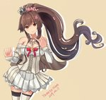 1girl brown_hair cake_no_shaberu cherry_blossoms corset cosplay cowboy_shot crown dated dress flower garter_straps hair_flower hair_ornament hairband kantai_collection long_hair long_sleeves looking_at_viewer mini_crown off-shoulder_dress off_shoulder orange_background ponytail red_flower red_ribbon red_rose ribbon rose simple_background solo thighhighs warspite_(kantai_collection) warspite_(kantai_collection)_(cosplay) white_dress white_legwear yamato_(kantai_collection)