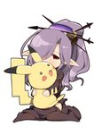 1girl blush brown_eyes commentary_request dress granblue_fantasy hair_ornament harvin highres hug nio_(granblue_fantasy) pikachu pokemon pokemon_(creature) ponytail purple_hair sorano_(12gou) thighhighs white_background
