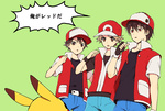 3boys bad_id bad_pixiv_id bangs baseball_cap black_hair brown_hair fingerless_gloves gloves green_background hat hirosuke_(psychexx) multiple_boys multiple_persona pikachu pixiv_red pokemon pokemon_(creature) pokemon_(game) pokemon_frlg pokemon_rgby red_(pokemon) red_(pokemon)_(classic) red_(pokemon)_(remake) red_eyes translated