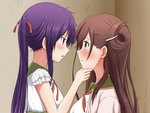 2girls blush brown_hair ebisuzawa_kurumi eye_contact gakkou_gurashi! green_eyes hair_between_eyes hair_ornament hair_ribbon indoors long_hair looking_at_another mole mole_under_eye multiple_girls neck_ribbon open_mouth purple_hair red_eyes red_ribbon ribbon shirt sleeveless sleeveless_shirt twintails upper_body wakasa_yuuri white_shirt