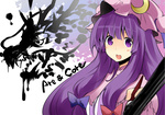 1girl calligraphy_brush crescent dragon dress gj_(minoru) hair_ribbon hat long_hair paintbrush patchouli_knowledge purple_eyes purple_hair ribbon solo touhou