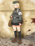 1girl absurdres aqua_eyes bag blood full_body german glasses highres military military_uniform original ranguage rubble russian skirt socks soldier solo translated uniform world_war_ii