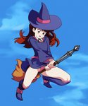 1girl bangs blue_sky blush_stickers boots broom broom_riding brown_eyes brown_hair cloud flying hat hood hood_down kagari_atsuko knee_boots little_witch_academia long_hair long_sleeves looking_down luna_nova_school_uniform open_mouth outdoors panties pink_panties purple_footwear purple_headwear school_uniform sky solo tareme typo_(requiemdusk) underwear wind witch witch_hat