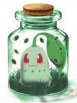 3d chikorita cork grass in_container jar no_humans pokemon pokemon_(creature) popo_xxx