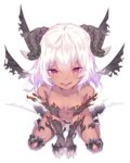 1girl :d ankle_boots armor bangs between_legs bikini_armor black_boots black_wings blush boots breasts collarbone dark_skin demon_girl demon_horns dev eyebrows eyebrows_visible_through_hair from_above full_body hair_between_eyes hand_between_legs head_wings horns light_particles looking_at_viewer looking_up medium_breasts multiple_wings navel open_mouth original red_eyes shadow shiny shiny_skin simple_background sitting slit_pupils smile solo stomach succubus wariza white_background white_hair wings