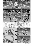 2girls akemi_homura comic directional_arrow greyscale kaname_madoka kyubey magical_girl mahou_shoujo_madoka_magica monochrome multiple_girls pantyhose running sanari_(quarter_iceshop) shield time_stop translated