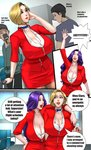 2girls blonde_hair breasts cellphone choker cleavage comic english flight_attendant formal huge_breasts long_hair mature multiple_girls nail_polish original pantyhose pencil_skirt phone purple_hair red_lips red_nails red_suit scarlett_ann short_hair skirt smartphone speech_bubble suit suit_jacket uniform