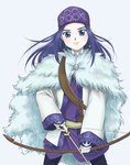 1girl ainu ainu_clothes arrow asirpa bandana blue_eyes bow_(weapon) cape earrings fur_cape golden_kamuy highres hoop_earrings jewelry long_hair long_sleeves looking_at_viewer pika_gororo purple_hair simple_background solo standing weapon