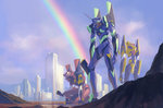 building city cityscape cloud crane eva_00 eva_01 eva_02 fmu kneeling mecha mountain neon_genesis_evangelion no_humans one_knee rainbow realistic science_fiction sky skyscraper squatting