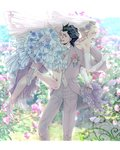 2boys :o angry bare_shoulders black_hair blonde_hair blue_eyes blue_flower blue_rose blurry blurry_background blush bouquet boutonniere bridal_veil bush carrying_over_shoulder crossdressing dress earrings elbow_gloves fate/zero fate_(series) flower formal frilled_dress frills garden gathers gloves grey_jacket grey_pants hair_strand hand_on_another's_ass hand_on_another's_shoulder high_heels husband_and_husband jacket jewelry kayneth_el-melloi_archibald lancer_(fate/zero) long_sleeves male_focus multiple_boys no_socks open_mouth outdoors panpanmaru pants petals rose shoes smile strapless strapless_dress stud_earrings suit tiara tuxedo v-shaped_eyebrows veil wedding white_footwear white_gloves yaoi yellow_eyes