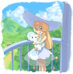 1girl :d alolan_form alolan_vulpix bangs bare_arms blonde_hair blue_sky blunt_bangs braid building carrying cloud collared_dress day dress eyebrows eyelashes gen_1_pokemon grass green_eyes hair_over_shoulder hat highres lillie_(pokemon) long_hair nyonn24 open_mouth outdoors palm_tree pokemon pokemon_(anime) pokemon_(creature) pokemon_sm_(anime) see-through sky sleeveless sleeveless_dress smile straight_hair sun_hat sundress tree twin_braids vulpix white_dress white_hat