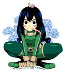 1girl asui_tsuyu black_eyes black_hair blush_stickers bodysuit boku_no_hero_academia dated frog_girl gloves hair_rings long_hair long_tongue low-tied_long_hair psycocko snail solo tongue tongue_out white_background