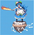 1girl :> blue_background blue_hair boots dress flaming_sword food food_themed_clothes frilled_dress frills fruit gingham hat hinanawi_tenshi keystone layered_dress long_hair lowres peach pixel_art red_eyes rope shide shimenawa smile solo sword sword_of_hisou takorin touhou very_long_hair weapon