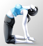 1girl ass barefoot black_hair breasts capri_pants feet grey_eyes highres long_hair looking_up pants solo stretch tamamon tank_top white_skin wii_fit wii_fit_trainer