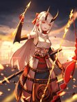 1girl absurdres armor bow_(weapon) breasts commentary fate/grand_order fate_(series) foka_(beginner) hair_between_eyes headband highres holding holding_bow_(weapon) holding_weapon horns japanese_armor japanese_clothes kusazuri oni oni_horns open_mouth red_eyes slit_pupils sode solo tomoe_gozen_(fate/grand_order) weapon white_hair