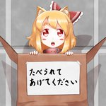 1girl animal_ears blonde_hair blush_stickers bow box cardboard_box cat_ears collar commentary for_adoption hair_bow in_box in_container kemonomimi_mode looking_at_viewer open_mouth red_eyes roco_(katsuya1011) rumia solo touhou translation_request