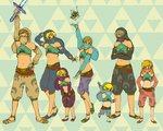 6+boys bangs bare_shoulders blonde_hair brown_hair closed_eyes crossed_arms detached_sleeves face_mask gerudo_link grey_hair hands_on_hips korok link mask master_sword midriff multiple_boys multiple_persona navel parted_bangs pose shorts smile strapless the_legend_of_zelda the_legend_of_zelda:_a_link_between_worlds the_legend_of_zelda:_breath_of_the_wild the_legend_of_zelda:_ocarina_of_time the_legend_of_zelda:_skyward_sword the_legend_of_zelda:_the_wind_waker the_legend_of_zelda:_twilight_princess toon_link triforce tubetop usushira veil young_link